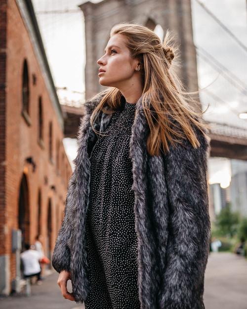 "Faux Fur Coat ""Foggy Morning"""