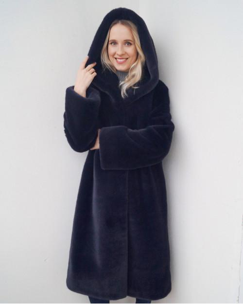 """Faux Fur Coat """"Navy Blue"""""""