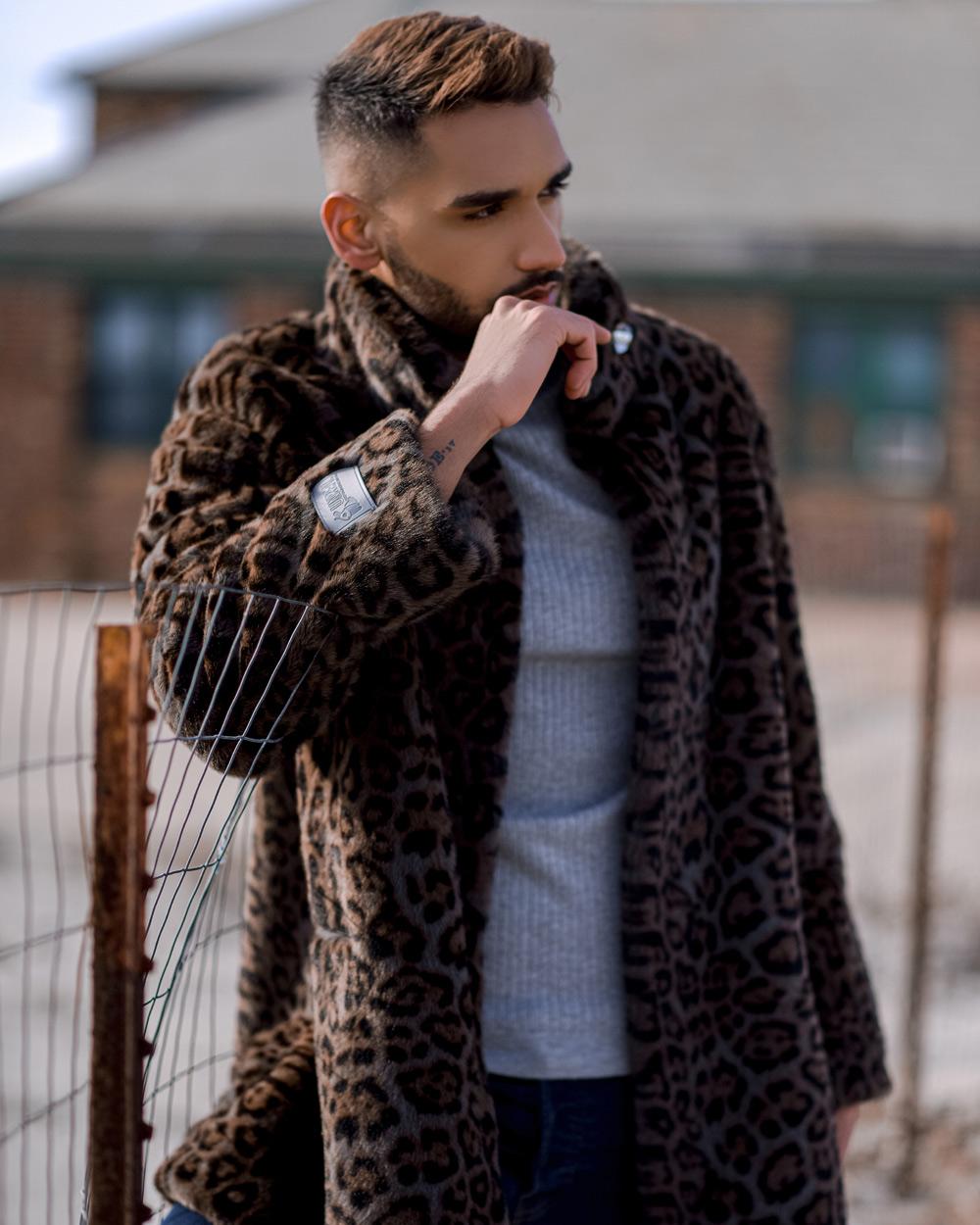 "Faux Fur Coat ""Man's Gray Panther"""